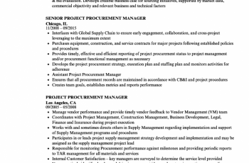 project procurement manager resume sample