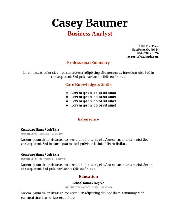 Business Analyst Resume templates