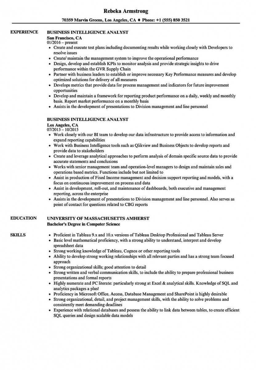 business intelligence analyst resume