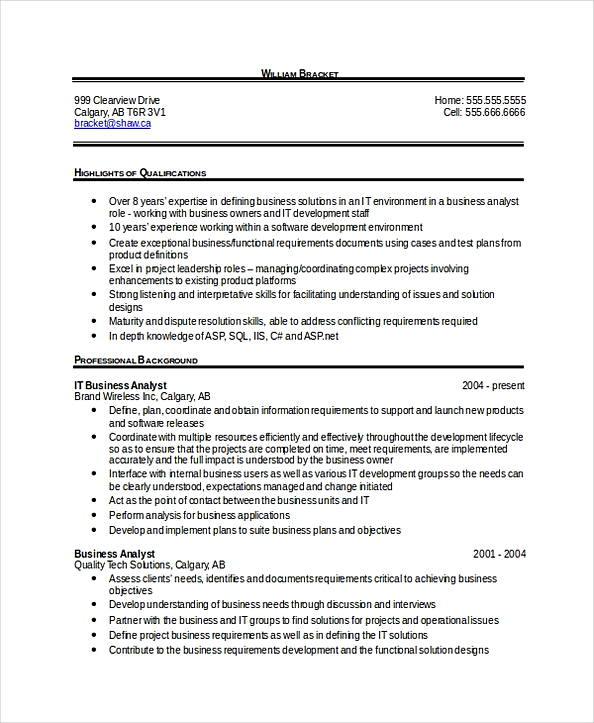 IT Business Analyst Resume templates