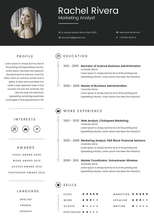 Marketing Analyst Resume templates