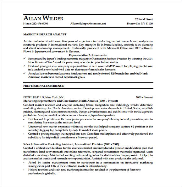 Marketing Research Analyst Resume Templates