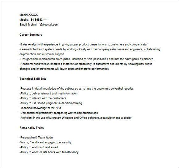Sales Marketing Analyst Resume Word templates