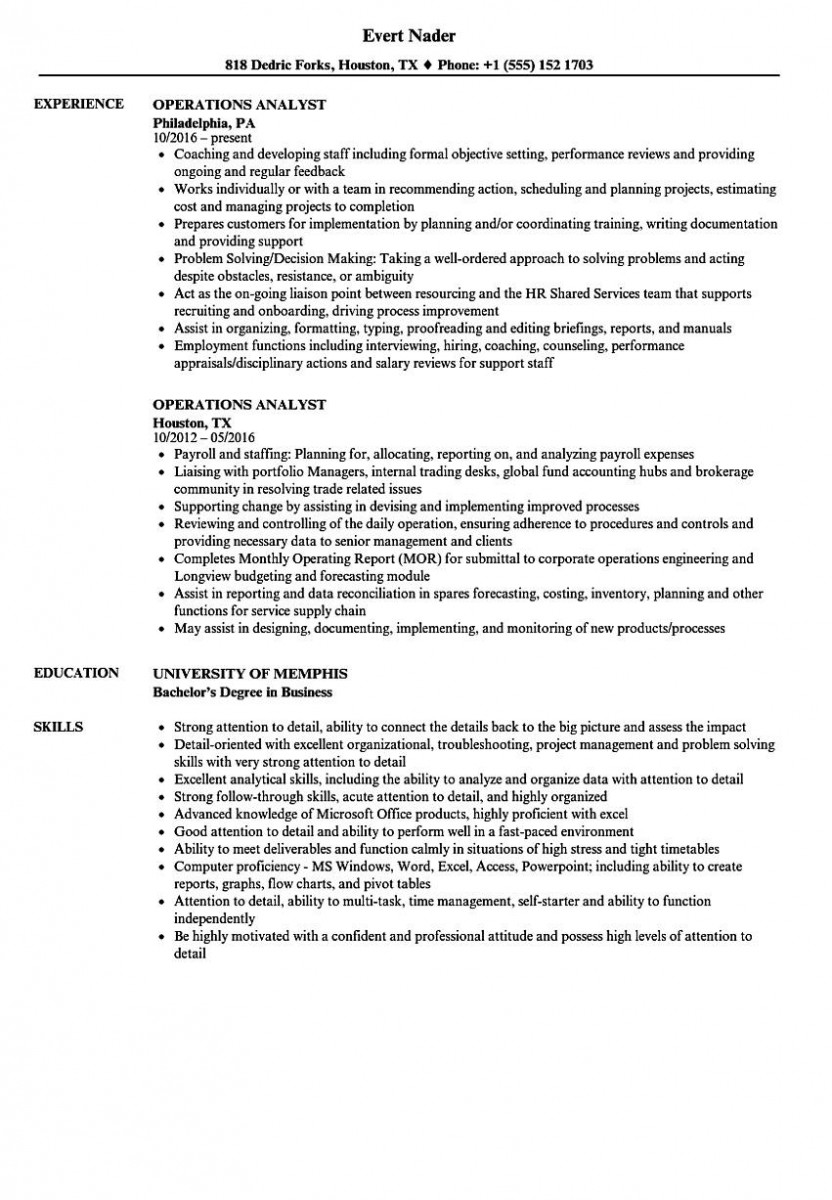 operations analyst resume sample