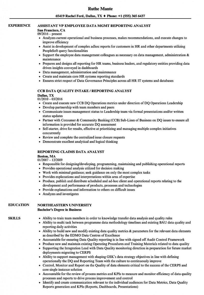 reporting analyst data resume