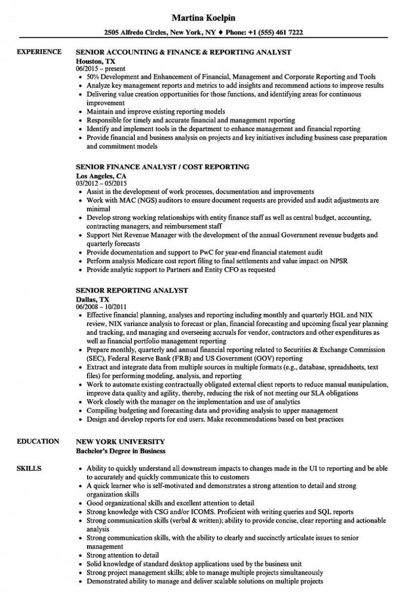 senior reporting analyst resume sample