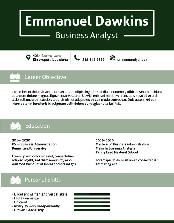 Analyst Resume templates 1