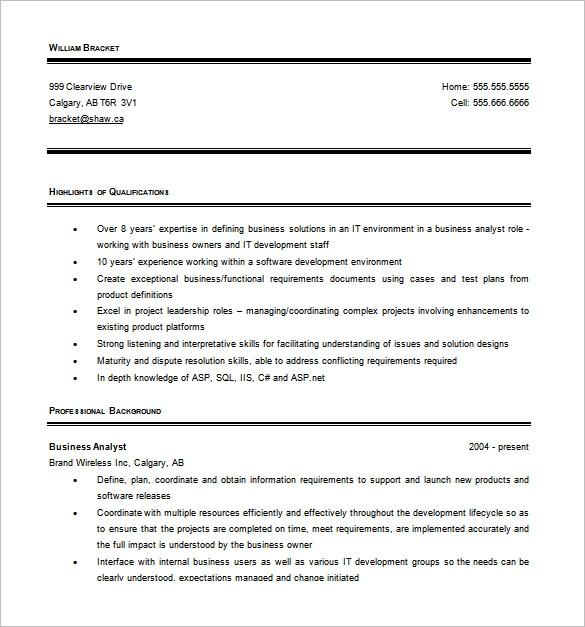 Busines Analyst Resume Word 1 1