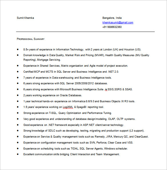 Business Intelligence Resume in MS Word 1 1