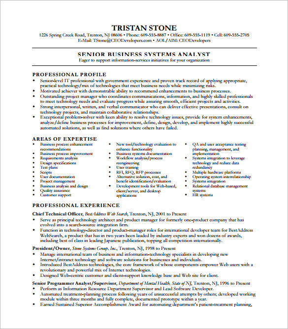 Business System Analyst Resume templates 1