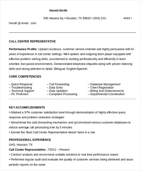 Call Center Representative Resume in Word
