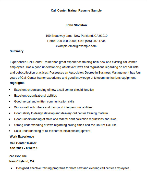 Call Center Trainer Resume Sample