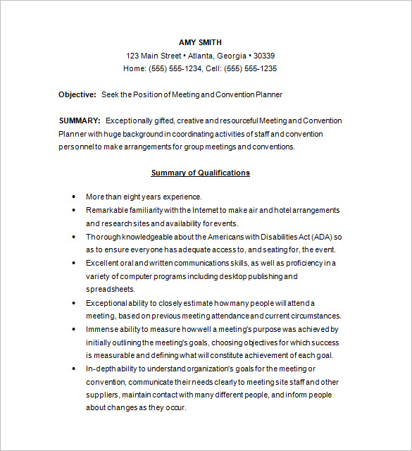 Conference Planner Resume templates