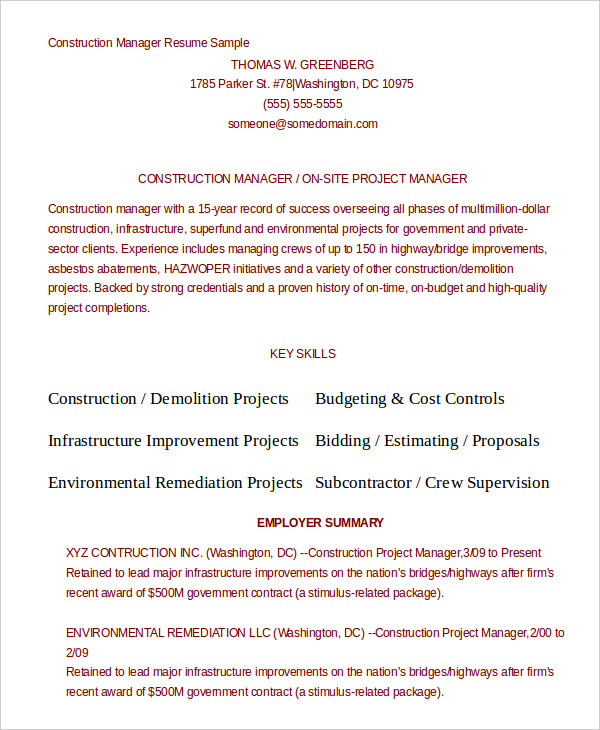 Construction Manager Resume templates 1