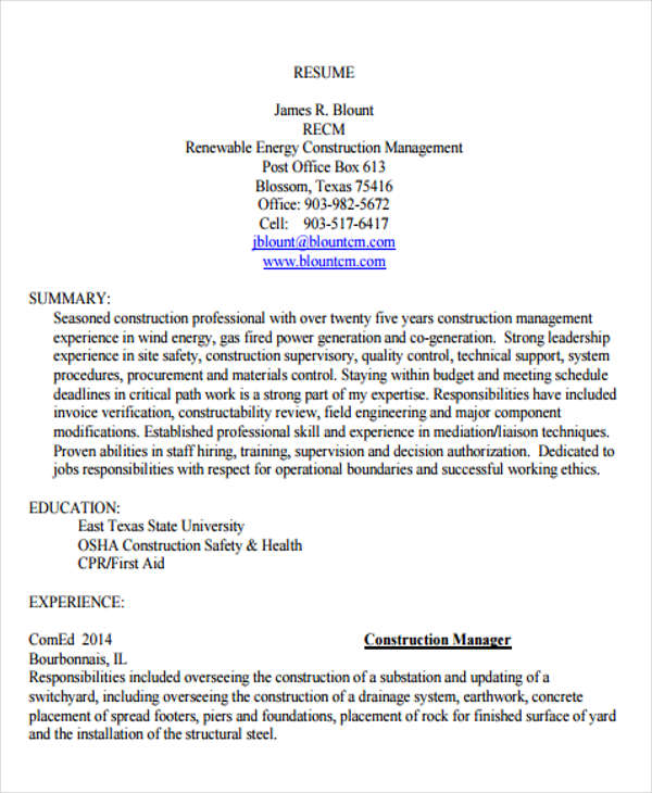 Construction Resume1 1