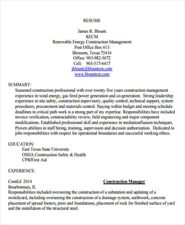 Construction Resume1
