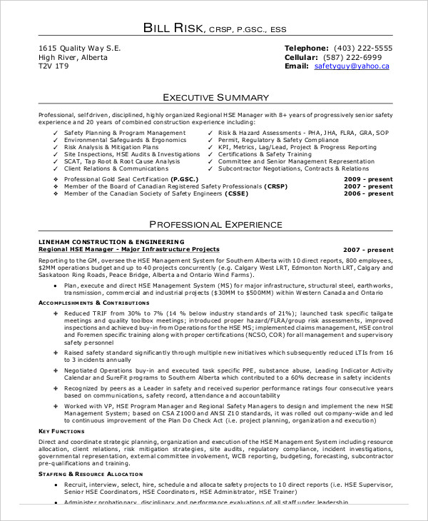 Construction Safety Officer Resume