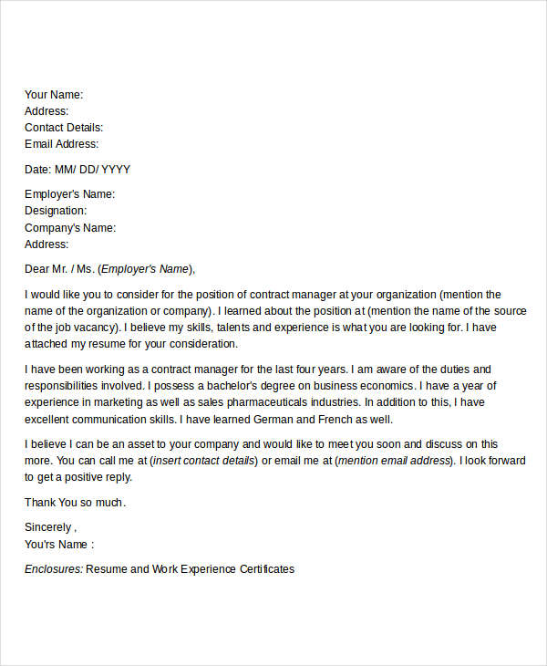 Contract Manager Resume Cover Letter
