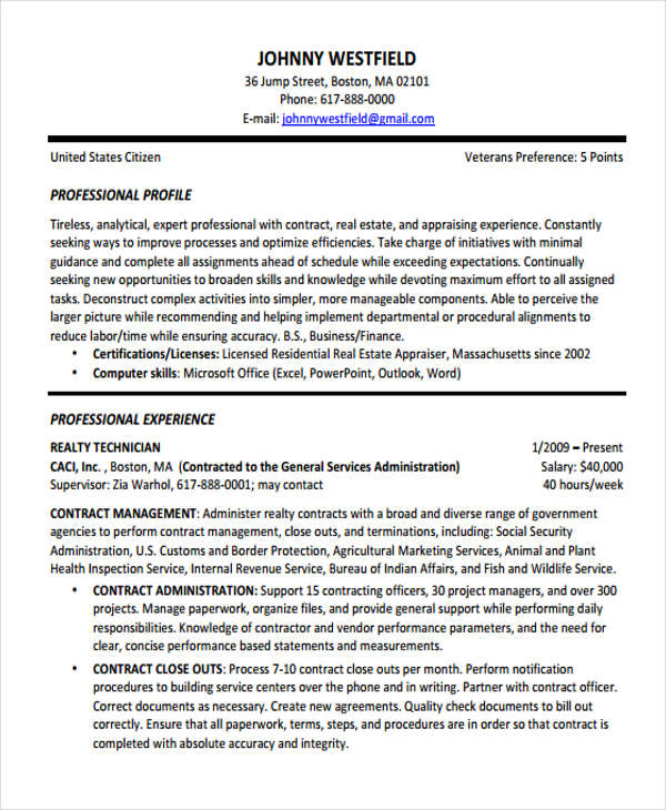 Contract Resume 1
