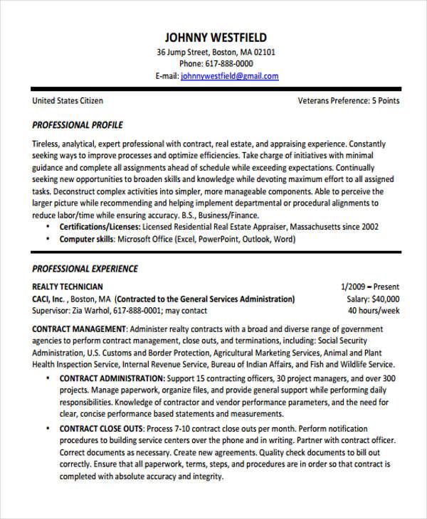 Contract Resume