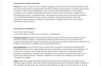 Convenience Store Manager Resume