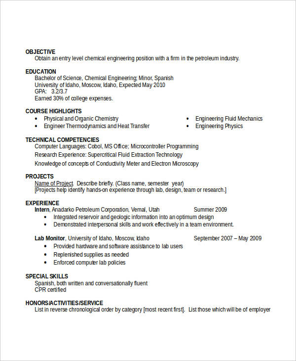 Entry Level Chemical Engineering Resume3