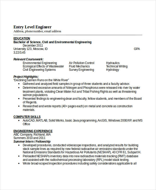 Entry Level Civil Engineering Resume3