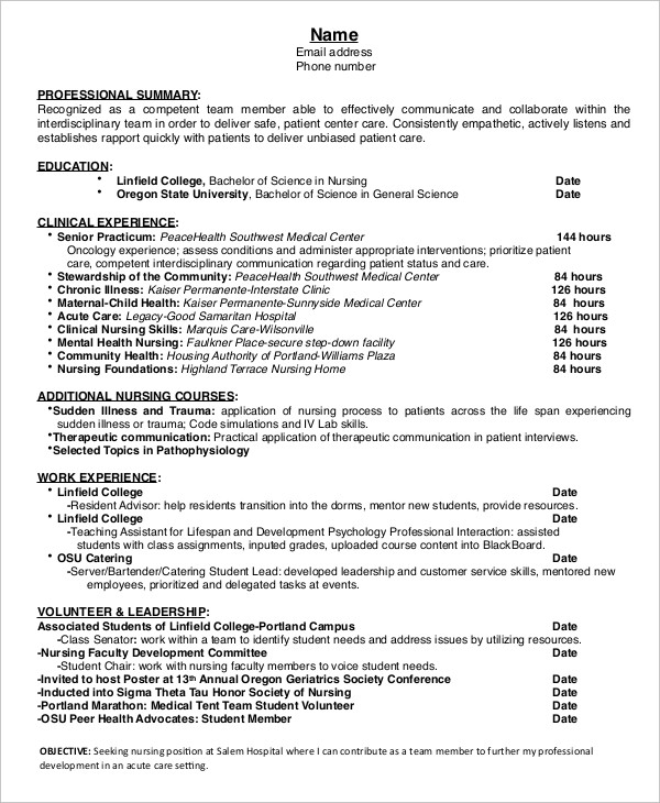 Entry Level Nursing Resume