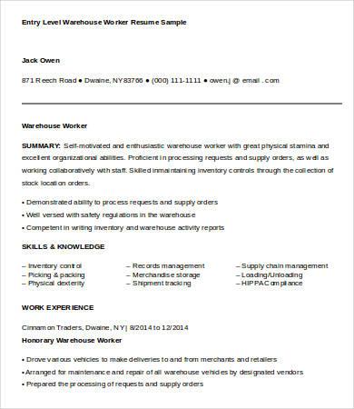 Entry Level Warehouse Worker Resume Sample