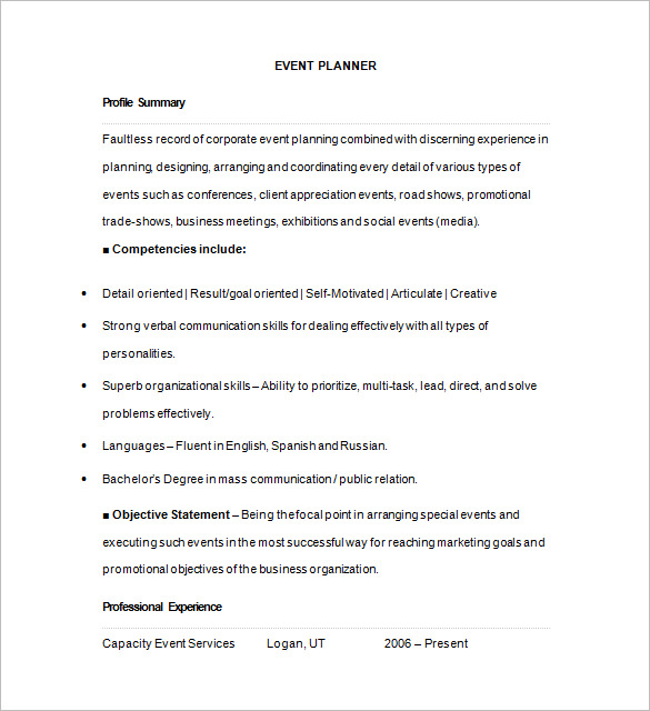 Event Planner Resume templatess