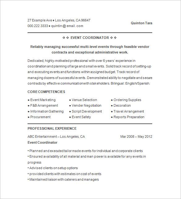 Events Coordinator Resume Example