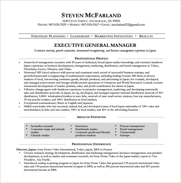 Executive General Manager Resume templates