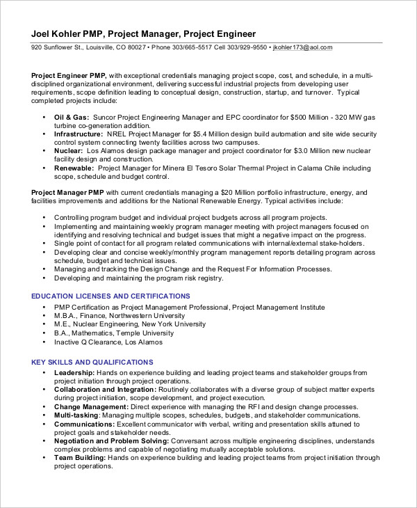 Experience Project Management Resume
