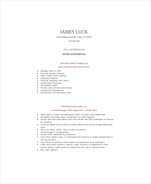 Food Service Assistant Manager Resume