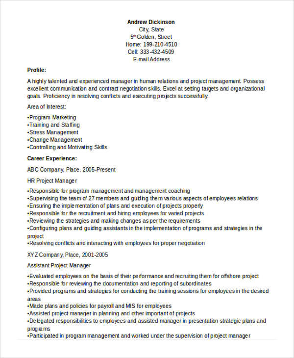 HR Project Manager Resume