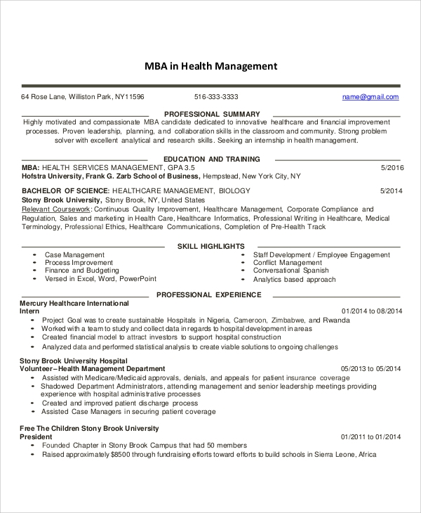 Healthcare Management Resume
