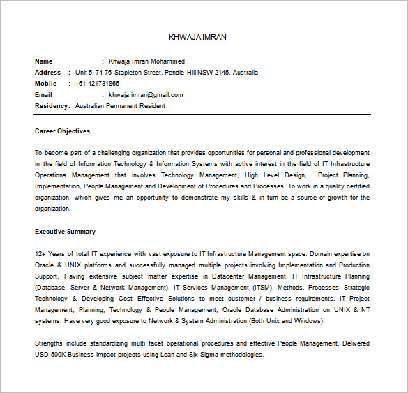 IT Manager Resume Word Downlaod