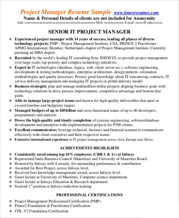 IT Project Management Resume