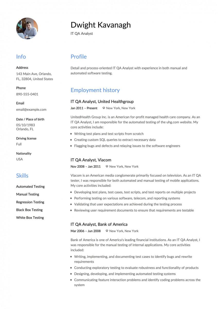 QA Analyst Resume