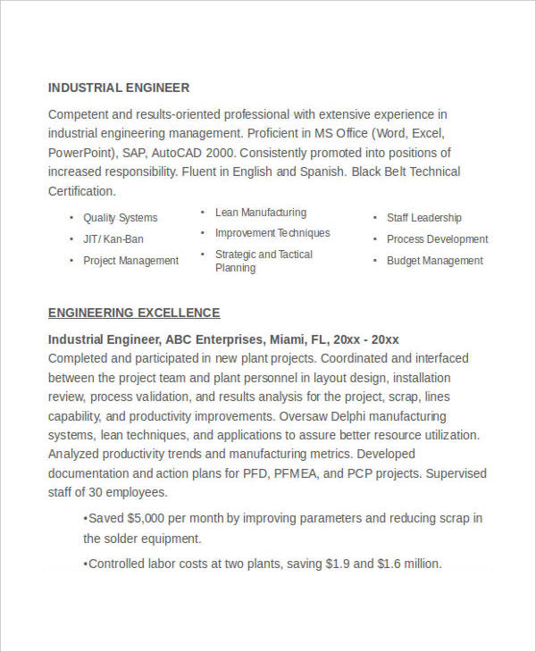 Industrial Engineering Resume Example2