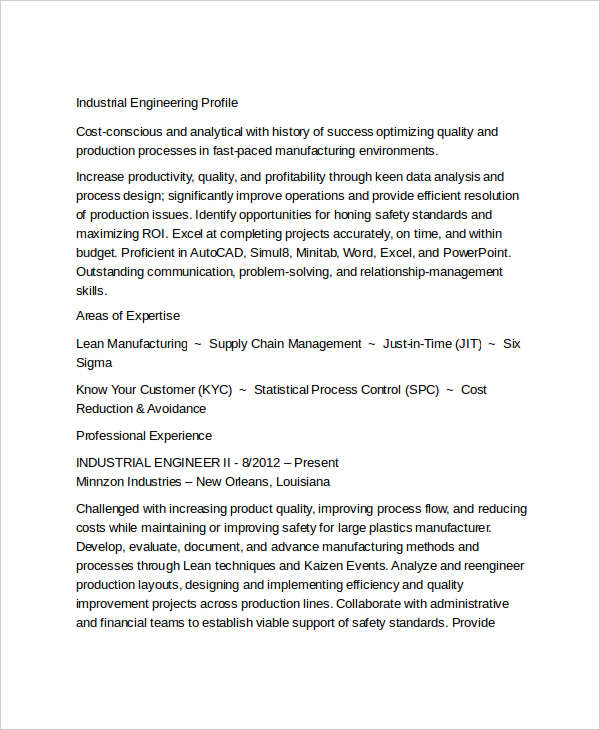 Industrial Engineering Resume Sample2