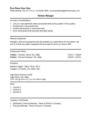 Kitchen Manager Resume