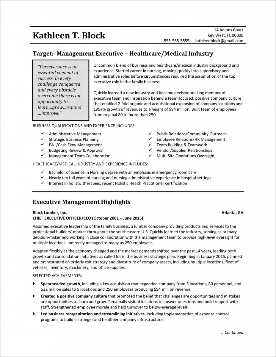 Management healthcare resume