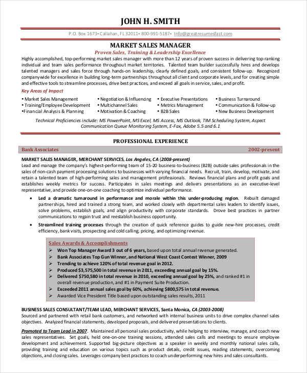 Market Sales Manager Resume