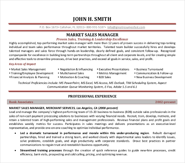 Marketing Sales Manager Resume1 1