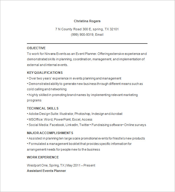 Party Event Planner Resume