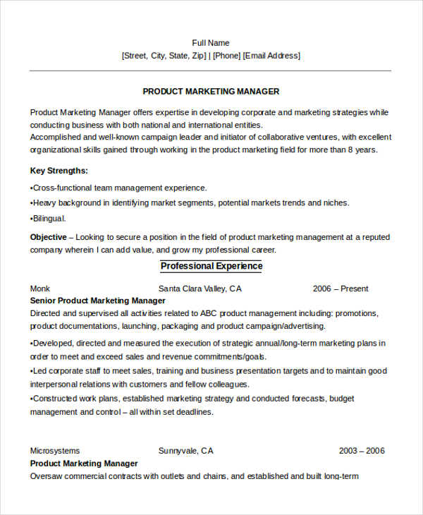 Product Marketing Manager Resume