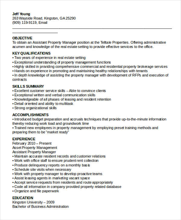 Property Assistant Manager Resume