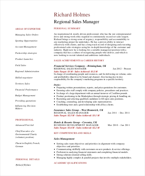 Regional Sales Manager Resume