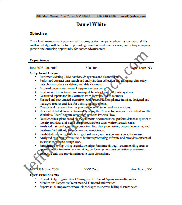 Resume templates for Entry Level Business Analyst 1 1
